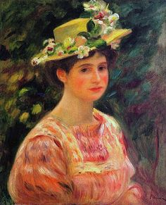 Young Woman Wearing a Hat with Wild Roses Pierre Auguste Renoir - circa 1896. Perfection.