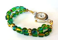 Green and Gold Interchangeable Watch Band for by PennysBeadQueen2, $11.00
