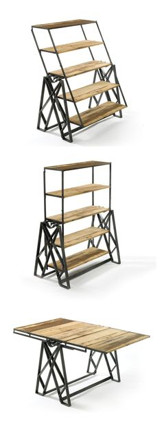 Project for you to make for your own living quarters-Ruben!- Reclaimed Wood Convertible Shelf Table | Great design!!
