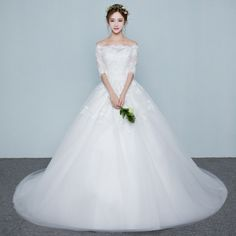 The bride's wedding dress bride 2017 spring new Korean-style long-sleeved thin and simple to the tail wedding