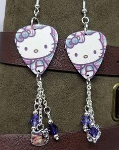 dcdb9e377 Hello Kitty Guitar Pick Earrings with Charm and Purple Swarovski Crystal  Dangles #Handmade #DropDangle