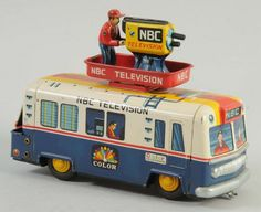 Japanese Tin Battery Operated NBC Television Bus.