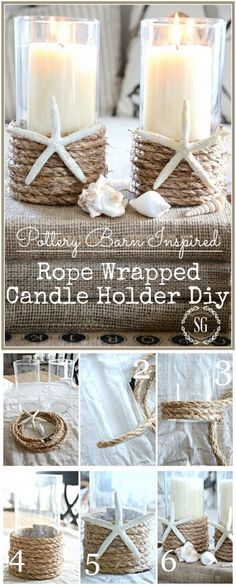 Easy Starfish and Rope Wrapped Candle Holders