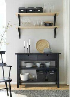 Ikea 'Norden' console table & wall shelves