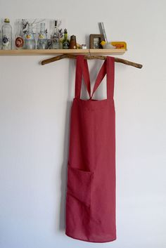 Japanese Linen Apron in Red - ONE OF A KIND. Now on Etsy