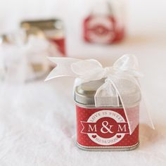 These cute tins are perfect as wedding favors, birthday party favors, baby shower favors and much more. Personalize them with many trendy and fun wraps. Each favor tin comes with a pre-tied sheer organza bow to save time as you prepare for your event. Summer Wedding Favors, Elegant Wedding Favors, Wedding Shower Favors, Wedding Favor Boxes, Baby Shower Favors, Party Favors, Wedding Ideas, Wedding Stuff, Wedding Decorations