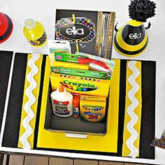 Flying Colors: A Crayon-Inspired Birthday Party: Personal Space Every kid's place setting was a different vibrant hue. Start with a black-felt rectangle and add bands of colored felt and white rickrack to mimic a crayon's wrapper. (via Parents.com)
