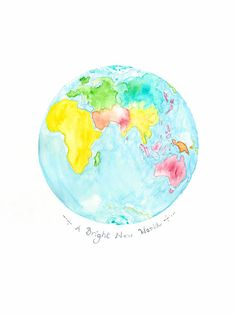 Make for good Globe Watercolour Planet Earth Print by WinterOwls