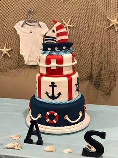 Baby Boy Shower Cakes Nautical Ideas New Ideas Baby Shower Cakes For Boys, Boy Baby Shower Themes, Baby Boy Shower, Baby Shower Decorations, Baby Birthday Cakes, 1st Boy Birthday, Sailor Birthday, Baby Shower Marinero, Sailor Cake