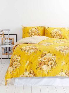 kitschy yellow floral bedding. / sfgirlbybay