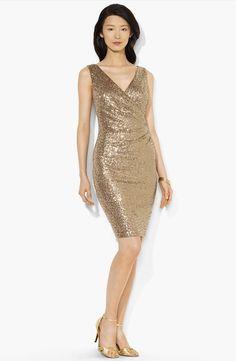 Sequin Ruched Surplice Sheath Dress