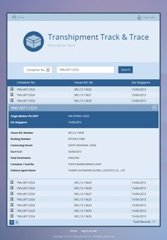 UI Tablet Design of Mac-nels NetFreight Web App