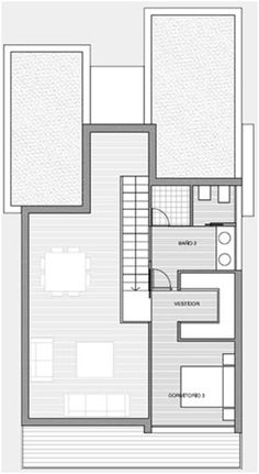 3D home plans. Three bedroom modern house, second floor