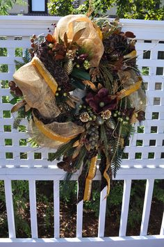 Christmas Door Wreath Full of Gold, Burgundy, Bronze Ribbon, Magnolia, Fruit, Glitter, Pines and Lush Greenery.