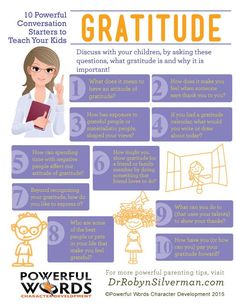 10 Powerful Conversation Starters to Teach Your Kids Gratitude #gratitude #powerfulwords #drrobyn