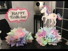 (DIY) Centros de mesa de unicornio (centerpiece for unicorn party)