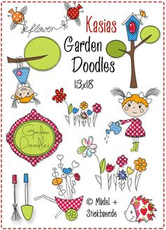 Garden Doodles 10x10 Mit diesen zauberhaften blumigen Motiven könnt Ihr Euch den Garten ins Haus holen. Sie sind schnell gestickt und wirken alleine durch die Auswahl unterschiedlicher Stoffe immer wieder anders. Die Motive wirken wie zufällig hingekritzelt, die offenkantig verarbeiteten Applikationen dürfen dabei gerne ein wenig ausfransen, das verstärkt den Skizzier-Effekt. Die Datei umfasst 10 verschiedene Motive, alle passen in den 13x18- Stickrahmen. Die genauen Größen der einzelnen…
