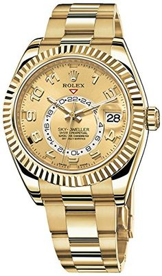 Men's Wrist Watches - Rolex Sky Dweller Champagne Dial GMT Yellow Gold Mens Watch >>> To view further for this item, visit the image link. Best Watches For Men, Luxury Watches For Men, Cool Watches, Wrist Watches, Latest Watches, Popular Watches, Dream Watches, Tag Heuer, Patek Philippe