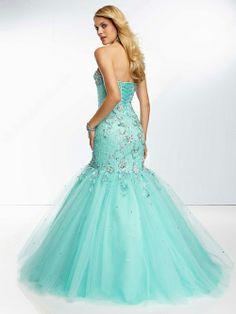 Blue Organza Mermaid Prom Dress