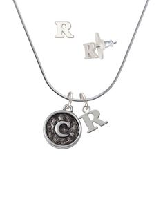 Silvertone Antiqued Round Seal - Initial - C - R Initial Charm Necklace and Stud Earrings Jewelry Set -- You can get additional details at the image link. (This is an affiliate link) #NiceJewelry