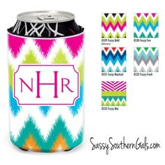 Monogrammed can koozie, monogrammed personalized can koozie www.SassySouthernGals.com