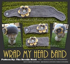 Ravelry: Wrap My Head Band Crochet Pattern pattern by Darla Allen.Thinking the poor model needs more than A WRAP. Crochet Crafts, Yarn Crafts, Sewing Crafts, Knit Crochet, Yarn Projects, Crochet Projects, Knitting Patterns, Crochet Patterns, Crochet Ideas