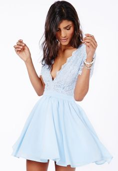 Aleena Lace Plunge Neck Puffball Dress