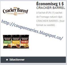 Coupons et Circulaires: 1,00$ sur Cracker Barrel rapé