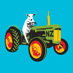 Funny New Zealand design - Sheep on a tractor by Global Culture