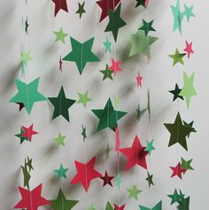 Paper Garland, Christmas Colors, 14 Feet Long, Red and Green Stars
