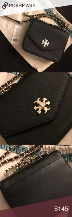 Tory Burch 'Kira' mini chain clutch Tory burch 'kira' mini chain clutch. Good condition. No damage. Minimal wear in interior and exterior. Perfect small sized bag with credit card and ID pockets inside. Perfect for both casual and evening wear. Tory Burch dust bag included. Tory Burch Bags Clutches & Wristlets