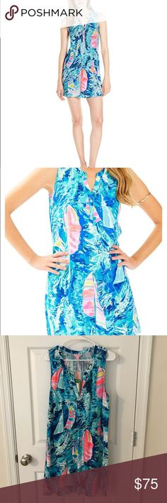 NWT LILLY PULITZER HEY BAY BAY ESSIE DRESS SZ L New with tags Lilly Pulitzer sparkling blue hey bay bay Essie dress size large Lilly Pulitzer Dresses