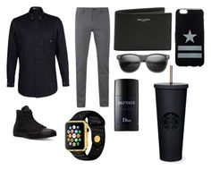 """Black black black GREY"" by projectalice5 on Polyvore featuring Y-3, BOSS Orange, Converse, Yves Saint Laurent, Givenchy, Christian Dior, men's fashion and menswear"