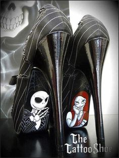 Art Jack and Sally-Nightmare Before Christmas Custom Heels sexy-shoes Cute Shoes, Me Too Shoes, Ugly Shoes, Nightmare Before Christmas Wedding, Christmas Shoes, Christmas Lingerie, Christmas Leggings, Christmas Gifts, Jack And Sally