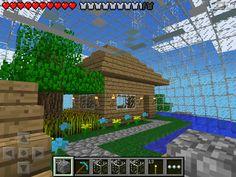 (W2) house inside of glass sphere Minecraft PE