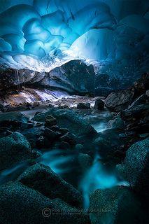 Glacier Stream inside Mendenhall Glacier ice cave, Juneau, Alaska 2014
