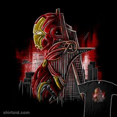"""""""The Iron Tower"""" by Luke Stiner Iron Man double exposure Geek Shirts, Double Exposure, Iron Man, Marvel Comics, Cool Art, Spiderman, Avengers, Tower, Darth Vader"""