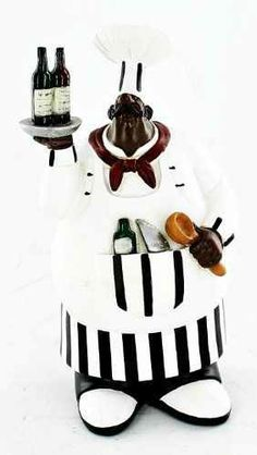 Fat Chef Kitchen Statue Black African American Holding Spoon And Wine Art Figure