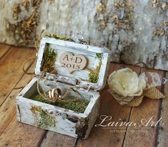 Rustic / Personalized / Wedding / Ring bearer box / Ring Pillow / Box / Birch Bark  Perfect to bear your rings for your wedding or used as proposal box.