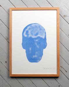 Blue skull duplicator print A3. kr150.00, via Etsy. by Sans Vase