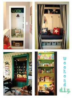 Okay so this one may take a few extra helping hands - but such a fun idea, especially in a child's room! If you have an extra close to spare ( god bless you if you do!) take off those doors & t...