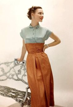 Vintage 1949 day dress casual wear two tone color block blue tan bronze silk button tab collar short sleeves late 40s era transition model magazine print ad