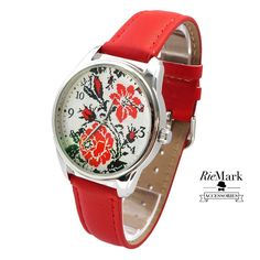 FOLK FLORAL Watch with Leather Band. Unisex Watch for Men and Women. Wristwatch, Gift.   - Custom designed pattern;  - High quality movement, MIYOTA -