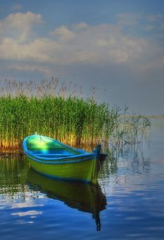 Makes me think of summers at Patagonia lake.taking boat out on the lake. Beautiful World, Beautiful Places, Beautiful Pictures, Foto Picture, Have A Great Sunday, Blue Boat, Blue Canoe, Lake Life, Belle Photo