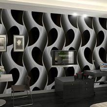 מופשט גיאומטרי 3d טפט pvc אפור / שחור בעיצוב מודרני טפט קיר רקע טפט לסלון(China (Mainland))