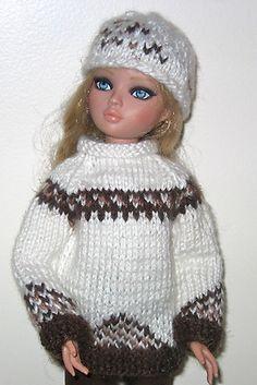 Hand knit ski sweater &  hat + slacks
