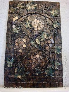 Картина панно рисунок Ассамбляж Лепка Утилизация мелочи №4 Монета фото 1