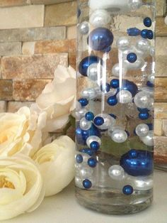 Royal Blue And White Pearls, Vase Filler Pearls, DIY Floating Pearl Centerpiece, Table Scatters And Confetti, Jumbo Mix Size Pearls Royal Blue Centerpieces, Pearl Centerpiece, Blue Wedding Decorations, Candle Centerpieces, Wedding Centerpieces, Candles, Burlap Decorations, Centrepieces, Blue And Silver