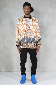 https://www.cityblis.com/6462/item/17270  ORANGE SKY varsity jacket - $270 by MurderNov  Striking varsity jacket with lining, seven push-buttons, two pockets.  SIZES: http://imageshack.com/a/img854/8285/28vs.jpg