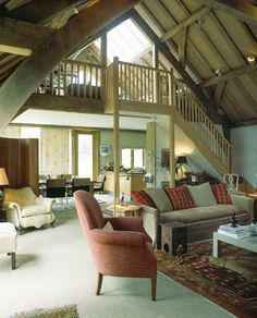 Gallery with staircase overlooking barn room. By Roderick James Architects. Oak Framed Buildings, Timber Architecture, Self Build Houses, Timber Frame Homes, Cottage Living, Rustic Barn, Living Spaces, Living Room, Ideal Home